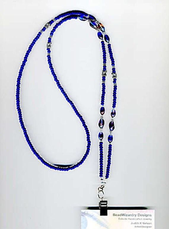 Multi Colored Pinched Oval Glass Beads & Matte Navy Seedbeads Beaded ID Badge Lanyard or Eyeglass Chain