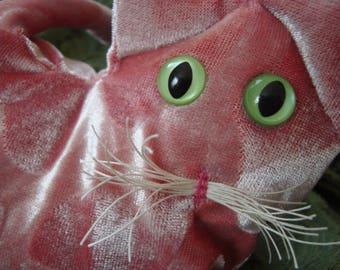 Pink Lavender Kitten, velvet cat, fibre arts, gift for cat lover