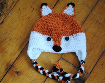 Fox Hat Newborn Sizing / Made to Order/ Crochet Fox Hat/Larger Sizes available/ Gender Neutral Prop/ Baby Fox Hat/ Orange and White