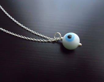 Evil Eye Necklace, Mal de Ojo, Talisman, Glass Pendant, Sterling Silver