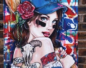 Chicago Cubs World Series 2016 Pin Up Girl Art- Canvas Print 11x14  Print Baseball Memorabilia Collectors Item