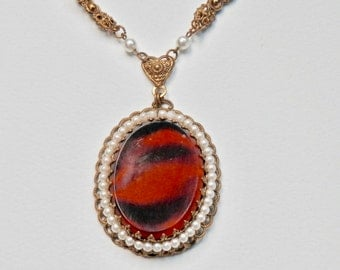 Vintage West Germany Glass Pendant Necklace Victorian Revival Pearl Necklace Goldtone Faux Tigers Eye Pendant Vintage European Jewelry
