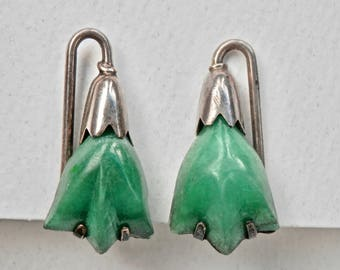 William Spratling Design Vintage Earrings Signed Mexican Sterling Silver Dyed Green Onyx Earrings Taxco Mexico 925