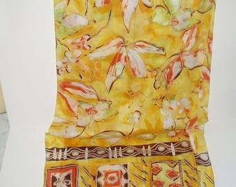 Vintage Scarf Long Yellow Floral Retro Fashion Head Scarf Neck Purse Kerchief Scarf Accessory