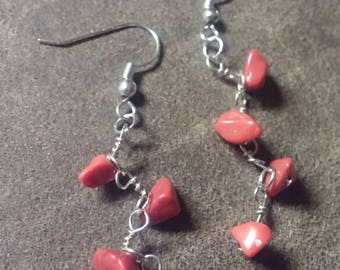 Red Coral Dangle Earrings, Red Coral Color Jewelry, Gifts for Her, Natural Gemstone Earrings, Healing Stones Jewelry, Boho Hippie Gypsy Gift