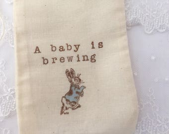 A Baby is Brewing Favor Bags Peter Rabbit Tea Party Favor Bags Set of 10