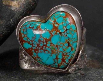 Turquoise Heart Ring, Boho Ring, Sterling Silver Ring, Silversmith, Hand Made Ring, Size 8