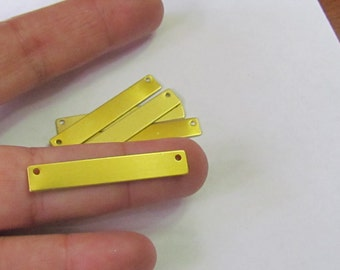 1/4 x 1 1/2 -Brass blanks with 2 holes - Hand stamping metal blanks - bar blanks - brass bar blanks - great for necklaces