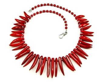 Red Coral Chillies Sterling Silver Necklace  - N801A