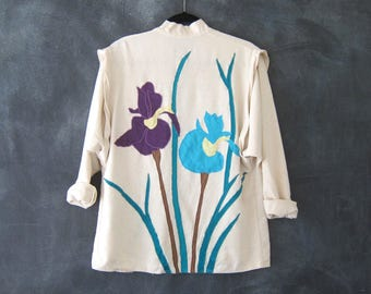 80s Raw Silk Orchid Wearable Art Kimono Blazer Duster Aplique Hippy Boho Jacket Ladies S/M