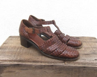 90s Huarache Maryjanes  Italian Cole Haan Woven Italian Leather Ladies Size 9.5