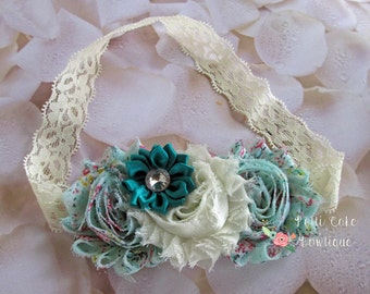 Mint Baby Headband, Flower Headband, Newborn Headband, Baby Girl Headband, Baby Shower Gift, Baby Headbands, Toddler Headband, Baby Bows