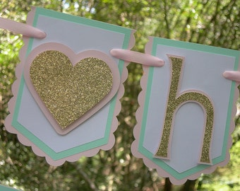 Little Sweetheart Happy Birthday Banner in Pink, Mint and Gold