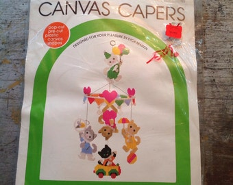 Vintage Leisure Arts Canvas Capers Kitten Clown Mobile Kit Unopened