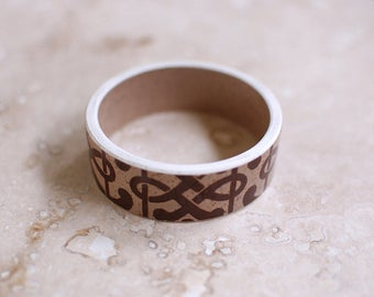 StayGoldMaryRose - Stylish speckled neutral glazed tribal pattern teacup bangle. (Large fit)