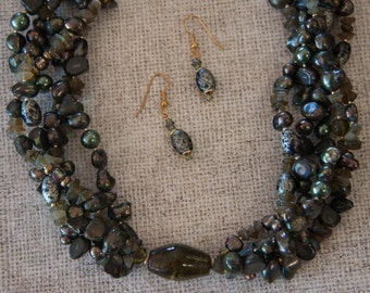 Superstition - Mossy Green Multi-strand Pearl Necklace, Earrings