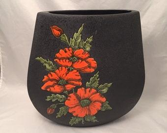 Large Black Lava Glass Vase Orange Glazed Poppies Pillow Shape Retro Home Decor