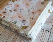 Baby Blanket - Minky Blanket - Girls Baby Blanket - Cream Pink Blanket - Floral Baby Blanket - Floral Crib Blanket - Baby Shower Gift