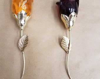 Pair of Avon Glass Roses