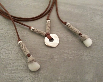 Pebble Bolo Necklace, Wrap Necklace, Simple Wrap Choker, Brown Bolo Necklace, Western Necklace, Suede Tie Necklace, Layered Necklace