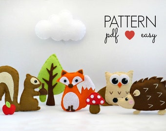 Baby Mobile Pattern - Felt Animal Pattern - Woodland Nursery Decor - DIY Nursery Mobile - Hand Sewing Pattern - Felt Toy Pattern -