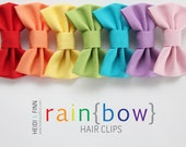 NEW Rainbow Hairbow SET of 7 Hairclip cotton red yellow orange blue purple green hairclip