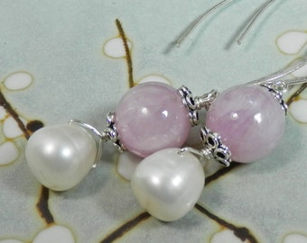 Kunzite and White Freshwater Pearl Sterling Silver Earrings with oversized marquis ear wires