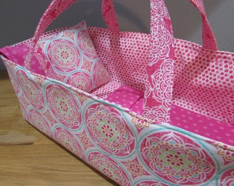 Doll Carrier, Will Fit Bitty Baby and Stella Dolls, Modern Fabric with Pink Lining, 16 Inches Long