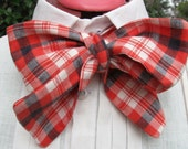 Red, white and blue plaid linen cravat, 19th century style