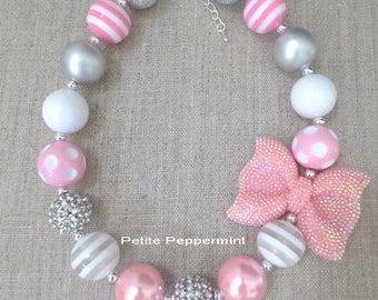 Pink Silver White Baby Chunky Necklace, Girl Necklace, Toddler Necklace, Necklace for Girls, Bubblegum Necklace, Toddler Jewelry