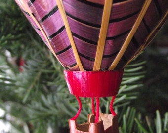 Vintage Made In Nepal Reed Grass Weaved Colorful Hot Air Balloon Christmas Tree Ornament Tree Decoration Ethnic Flying Colorful Up Up Away
