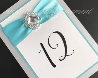 Fairytale Rhinestone Table Number fairytale wedding rhinestone table numbers table cards Tiffany blue