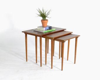 Westnofa Modern Teak Nesting/Stacking Tables-(Set of 3)
