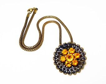 Art Deco Pendant Necklace - Coro Flower Pendant - Topaz Gold Glass Rhinestones - Round Choker Length Chain - Brass Goldtone - Vintage 1930's