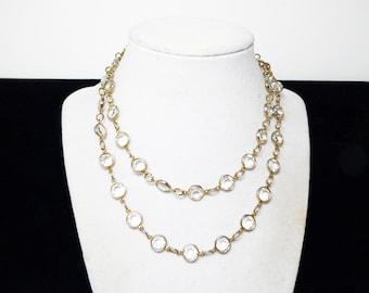 "Austrian Crystal Necklace - Bezel Set Faceted Glass Austrian Clear Crystals -  Encased Beads Rafealian Signed  - Vintage 1980's 29"" long"