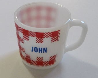 "Vintage Westfield White Milk Glass Cup Mug Red Gingham Checks Name ""John"" USA"