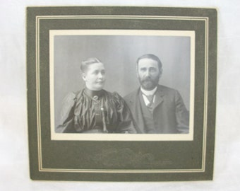 Vintage Antique Cool Looking Couple Photo in Paper/Cardboard Display Frame