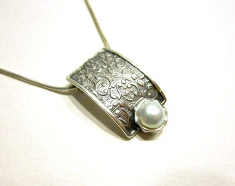 """Vintage Sterling Pearl Pendant Signed Italy 19"""" Chain Necklace Minimalist Scroll Sterling Gift for Her Gift for Mom Under 50"""
