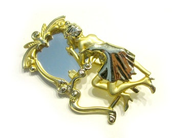 """Vintage Vanity Woman Figural Brooch Gold Mirror Pin 2"""" Large Pin Gift for Her Under 15 Make Up Mirror Brooch"""