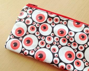 Faux suede zipper pouch : Red eyeballs