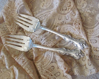 Forks Set of 2 Vintage Silver Plate Large Serving Forks - Orleans 1965 Pattern