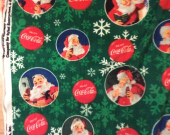 A Wonderful Coca Cola Santa Christmas Holiday Tossed Fleece Fabric By The Yard Free US Shipping