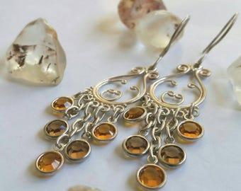 Bohemian Amber Swarovski Channel Crystals Chandelier Earrings