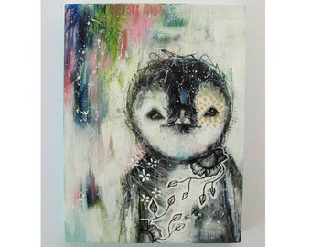 folk art Original penguin painting mixed media art painting on wood canvas 8x6 inches - Snuggle for warmth