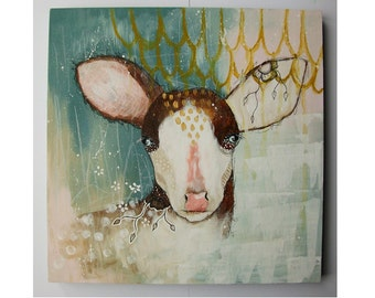 Original deer painting whimsical boho mixed media art on wood panel 12x12 inches - The path to somewhere