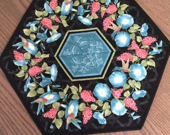 Blue Pansy Pink Hyacinth Flower Hexagon Quilted Table Topper - Quiltsy Handmade