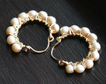 Freshwater pearl hoops, beige, champagne, freshwater pearls, tan, 14k gold filled, wire wrapped, hoop earrings, beaded, Mimi Michele Jewelry