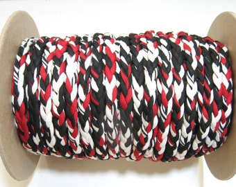 "3/8"" 3 Strand Stretch Knit Braid in Black, White, and Red (5YDS) 187BR3"