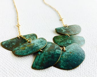 Handcrafted Brass Necklace, Turquoise Brass Necklace, Half Circle Necklace, Handmade Jewelry
