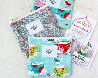 Tea party favors Mini Tea wallet Tea Time zipper pouch Travel tea holder Tea bag wallet fabric pouch Tea Etsy gifts for her tea lover gifts
